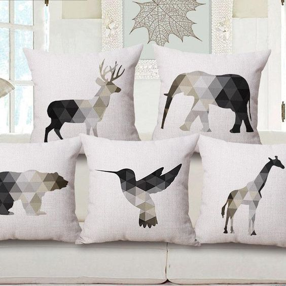 Pillow Case Animal Print In A Scaninavian Geomatic Design Homedecorate Interiordesign Pillowideas With Images Animal Cushions Creative Pillows Animal Pillows