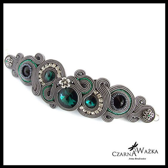 Grey soutache bracelet 2 by CzarnaWazkaSoutache on Etsy