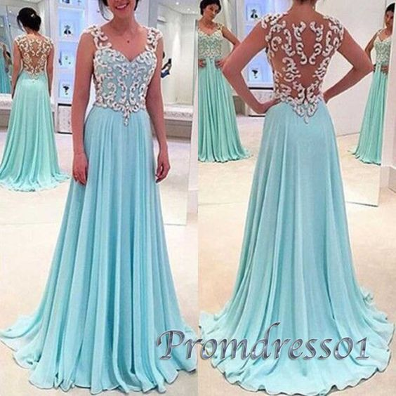 Chiffon prom dress with straps, senior prom dresses,Light blue see-through lace long evening dress www.promdress01.c... #coniefox #2016prom