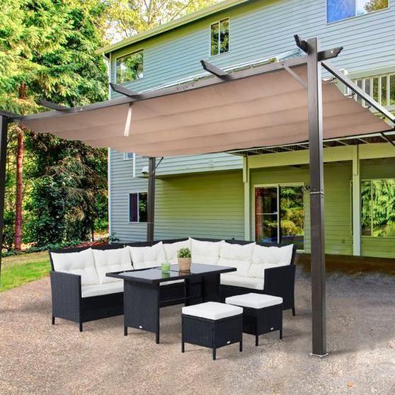 Outsunny 10 X 13 Outdoor Gazebo Aluminium Pergola Backyard Canopy Cover Square Sturdy Garden Sunshade Browna In 2020 Outdoor Pergola Aluminum Pergola Backyard Canopy