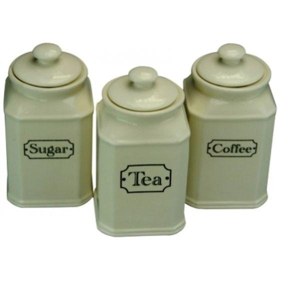 Cream Canister Set Tea,Coffee & Sugar - Ceramics - Kitchen Prep + Utensils