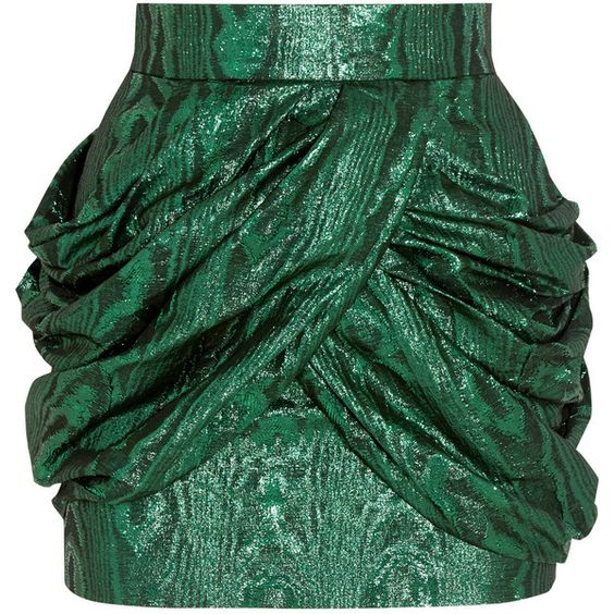 Balmain Metallic silk-blend jacquard mini skirt ($1,190) ❤ liked on Polyvore featuring skirts, mini skirts, balmain, bottoms, emerald, zipper mini skirt, mini skirt, short mini skirts, green pleated mini skirt and wrap around skirt