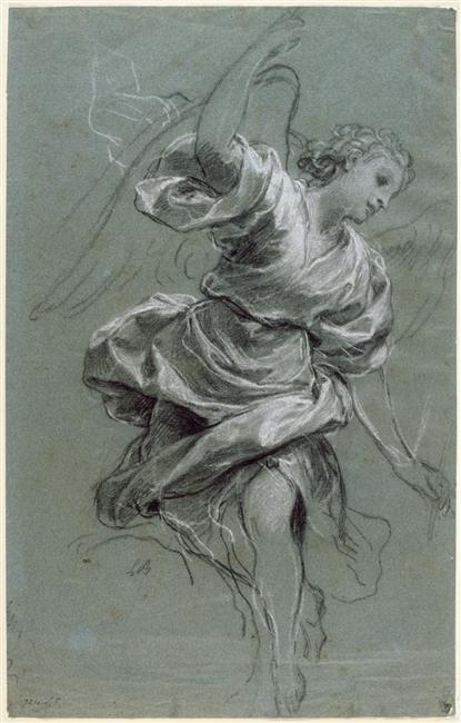 L'ange Gabriel par Louis Boullogn, le Jeune (1654-1733).  papier bleu, pierre noire, rehauts de blanc.