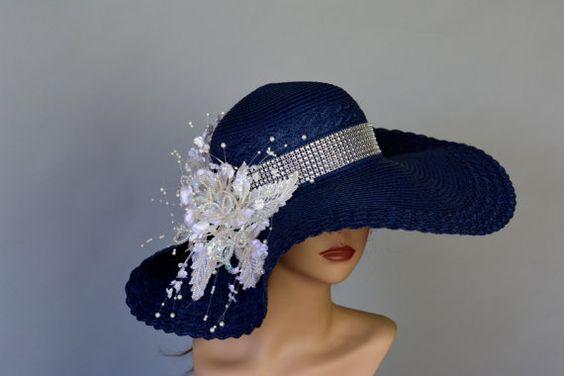 Tête de chapeau de mariage bleu marine pièce Kentucky Derby Hat chapeau bibi…