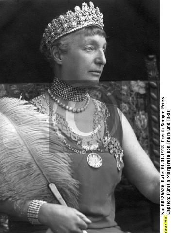 Princess Margarethe, wearing the Empire tiara of her husband's side of the family, in 1948, along with many other fine pieces.