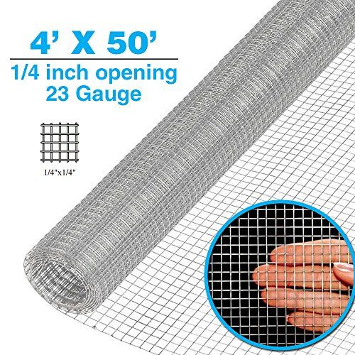 48 X 50 1 2inch Openings Square Mesh Welded Wire 19 Gauge Hot Dipped Galvanized Hardware Cloth Gutter Guards Plant Supports Poultry Enclosure Chicken Run Fence Hardware Cloth Wire Mesh Chicken Coop