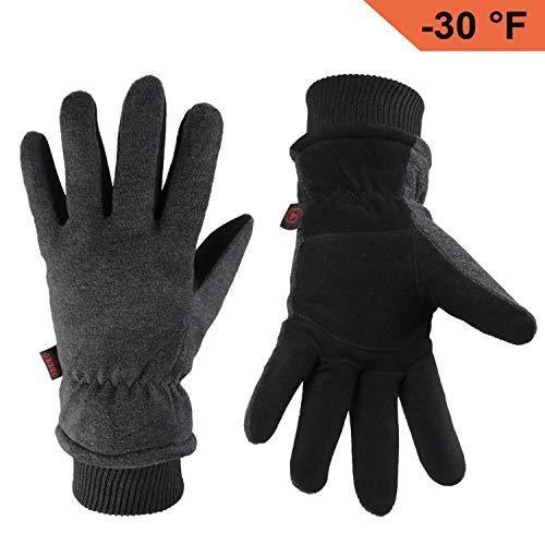Ozero Warm Gloves Coldproof Winter Ski Glove Deerskin Leather Palm Polar Fleece Back With Insulated Cotton Leather Gloves Winter Gloves Winter Warm Gloves