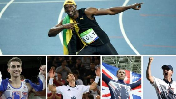 Usain Bolt claimed a record third 100m title while tennis player Andy Murray won Britain's fifth Rio gold on GB's best day at an overseas Olympics.  A 15th gold of the Games, putting GB second in the medal table, followed gymnast Max Whitlock's historic double success and Justin Rose's golf victory.  Cyclist Jason Kenny defeated team-mate Callum Skinner for his fifth title.