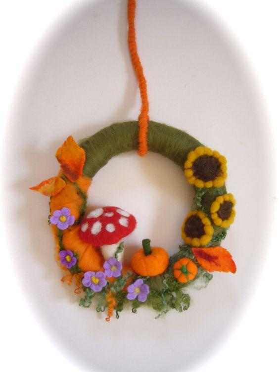 Autumn Fall Wreath.Pumpkin. Needle Felted. Waldorf.Door wreath.. $49.50, via Etsy.