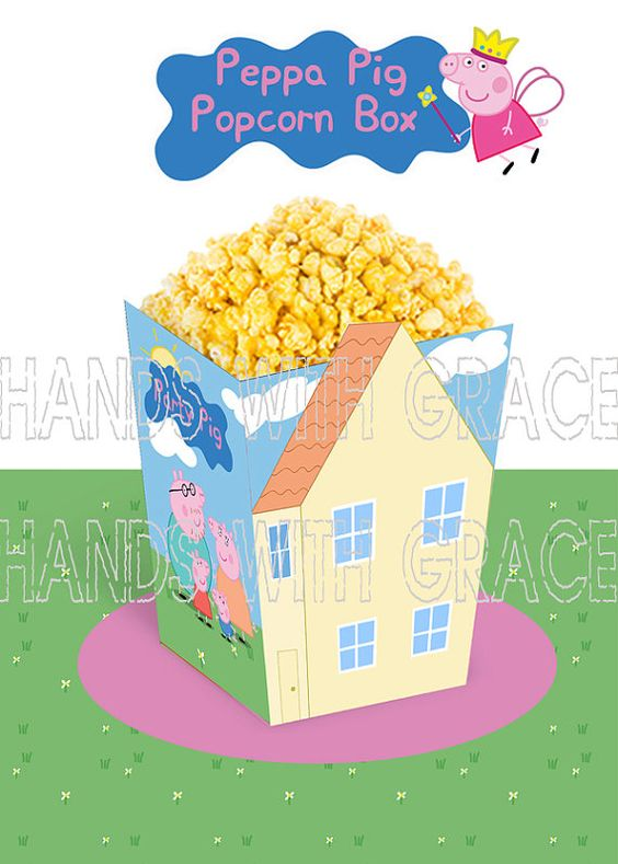 Printable Popcorn Box Peppa Pig By Handswithgrace On Etsy Peppa