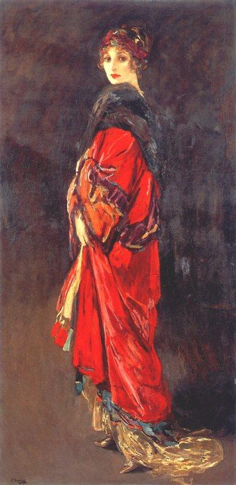 Hazel in Rose and Gold    By John Lavery, 1918