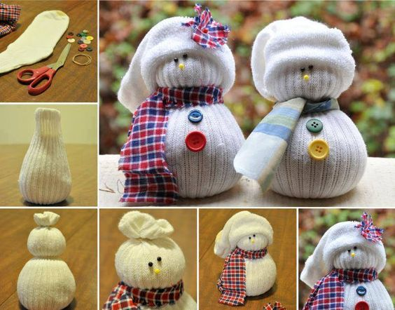 DIY - Turn your old socks into these adorable snowmen.:
