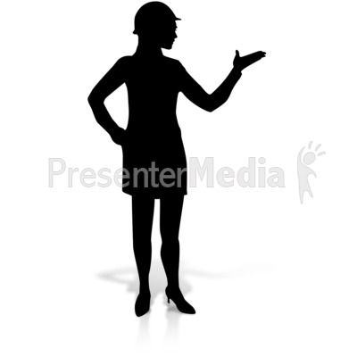 A silhouette of a female construction figure in a dress and hard hat. #powerpoint #clipart #illustrations