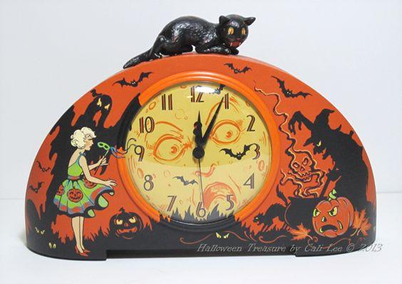 'Halloween Shadows' - An old General Electric clock circa 1931~ Halloweenized! - Halloween Treasure Studio © 2011 ~ Artwork by Cali Lee, LLC All Rights Reserved