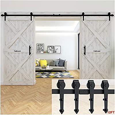Amazon Com Faithland 12ft Double Sliding Barn Door Hardware Track Kit For Wood Door Cl In 2020 Room Divider Doors Double Sliding Barn Doors Sliding Door Room Dividers
