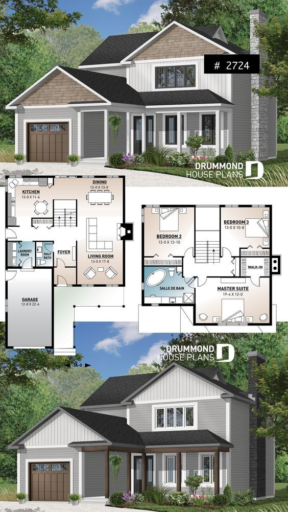 Discover The Plan 2724 Canova Which Will Please You For Its 3 Bedrooms And For Its Traditional Styles House Plans Farmhouse Drummond House Plans House Plans Small house plan for large family