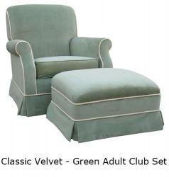 Angel Song Classic Velvet Adult Green Club Rocker Glider