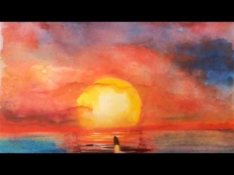 Ocean Sunset Watercolor Tutorial How To Paint Step By Step Easy