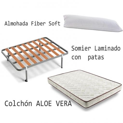 Somier Basic Colchon Flexitex Aloe Vera Almohada Fibra