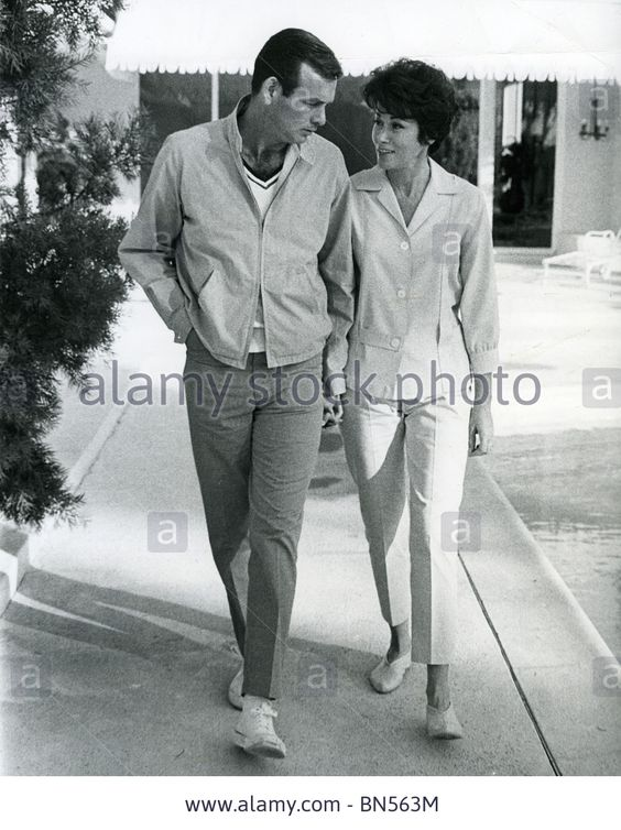 david-janssen-us-film-tv-actor-with-first-wife-ellie-by-pool-at-their home at Canyon country club golf course