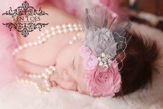 Pretty baby headband for photo shoot.