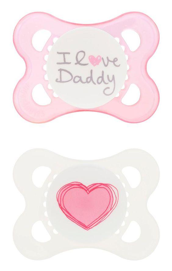MAM Love and Affection, I Love Daddy, Chupete de silicona, niña, 0-6 meses, 2 unidades