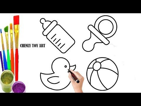 How To Draw Baby Bottle Rattle Pacifier For Kids 2019 Chenly