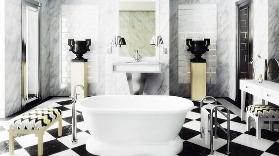 How to Get the Céline Look at Home // marble bath, freestanding bathtub