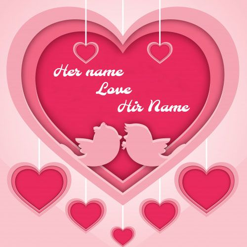 Beautiful Pink Romantic Heart Love Card With Name With Images