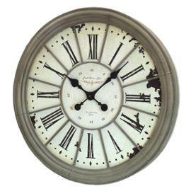 Grande horloge pendule murale en fer m tal gris style for Pendule murale industrielle