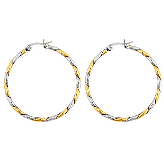 West Coast Jewelry Goldplated Stainless Steel Rope Twist Hoop