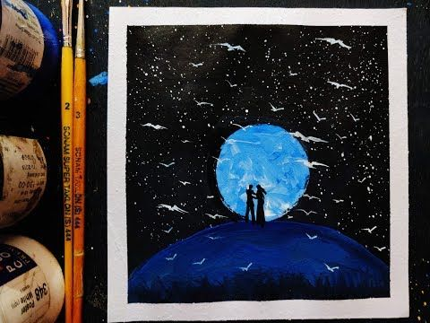 Easy Night Sky Painting Ideas For Beginners Youtube Painting Easy Paintings Beginner Painting