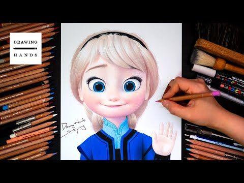 Drawing Frozen Little Elsa Drawing Hands Youtube Elsa Drawing Frozen Drawings Disney Princess Drawings