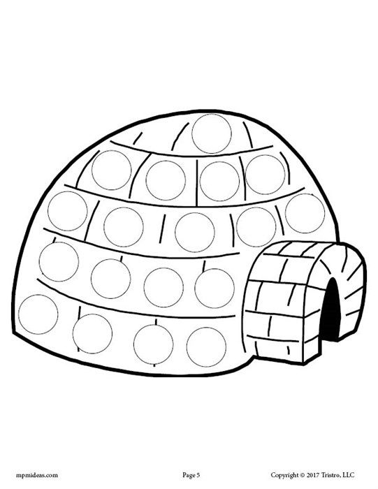 Igloo Do A Dot Coloring Page Do A Dot Winter Activities