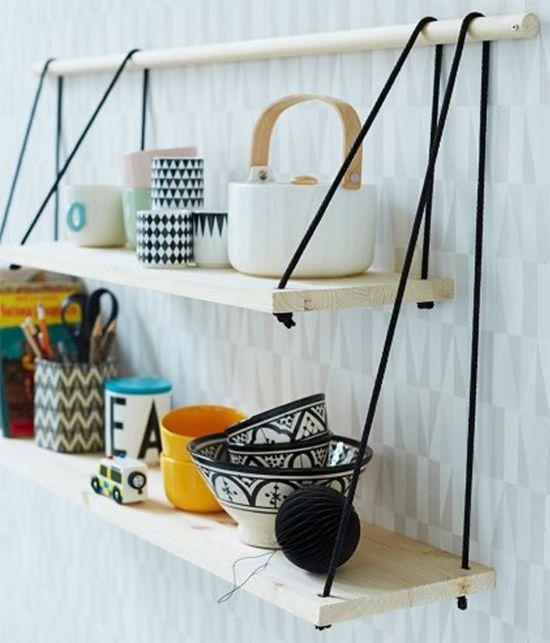 Como fazer prateleiras com cordas: