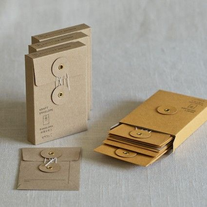 Muhs Home - Small Kraft String & Button Envelopes $8 for 6 {These would make excellent miniature portfolios for business cards}