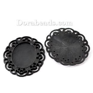"10PCs Black Cabochon Frame Settings 4x3.5cm(1 5/8""x1 3/8""),Fit 25x19mm(1""x6/8"") ACS Distribution"