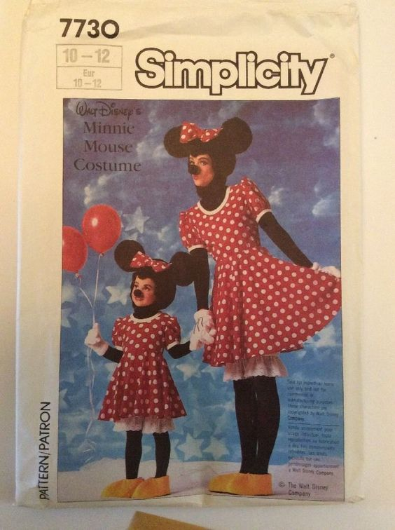 Minnie Mouse Costume Simplicity Sewing Pattern Child 10 12 7730 Halloween | eBay