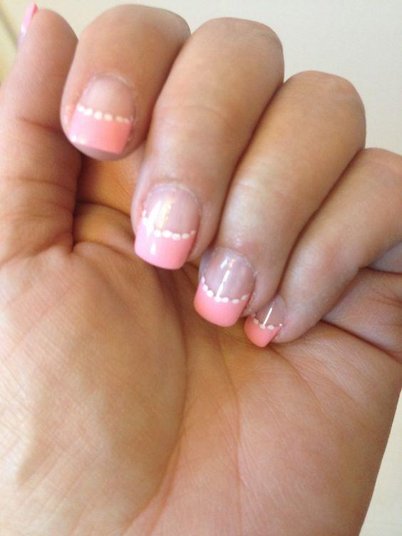 Pink and polka dot nails - July 2014