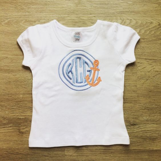 Rope Circle Monogram with Anchor by SweetKsBoutique on Etsy