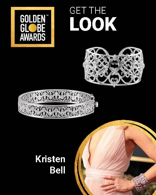 Kristen Bell Rocked Chunky Diamond Bangles To The 2019 Golden Globes And We Have Sterling Silver Cuff Bracelet Bracelets Gold Diamond Diamond Bangles Bracelet