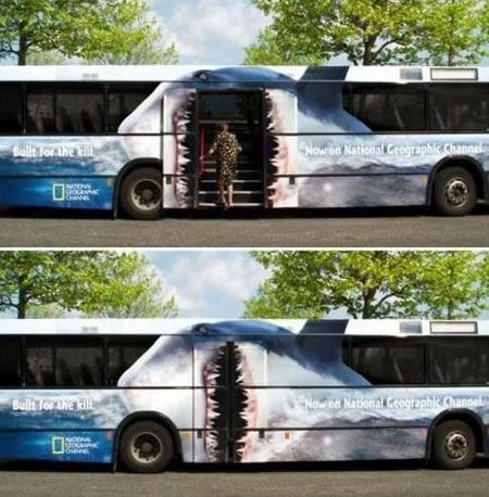 Ad from the National Geographic Channel o advertise a new show where the consumers interact with the bus painting to give the illusion of being eaten. This is a clever campaign as it adds a sense of realism to the show.