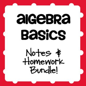 A super resource!  50 pages of notes, homework, three quizzes, a study guide, and a unit test to address the real number system, properties, order of operations, evaluating expressions, matrices, simplifying expressions, translating expressions and equations, and solving two-step equations and inequalities.  Sample pacing guide included.
