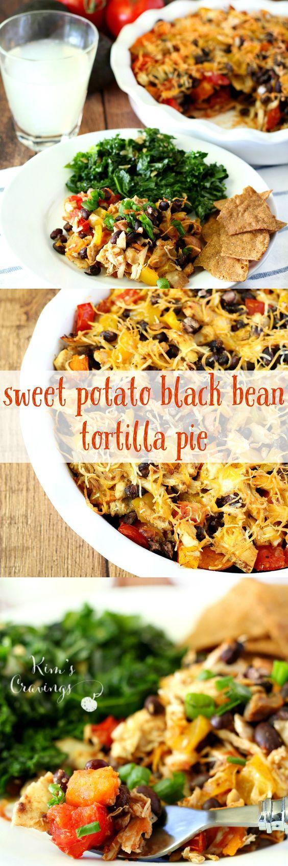 comforting sweet potato black bean tortilla pie layered with ...