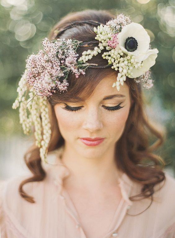 messy style floral crown // wild flower inspired // cascading flowers // anemone