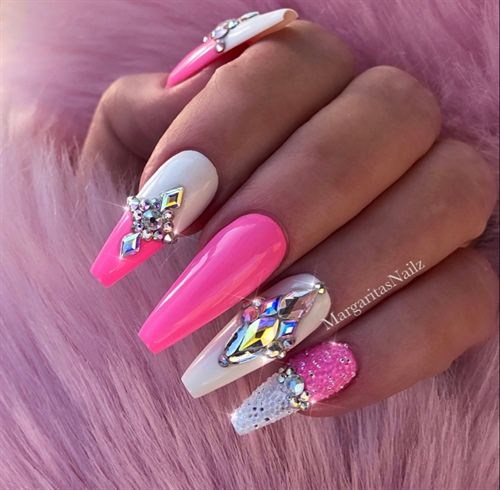 Pink White Pixie Bling Coffin Nails By Margaritasnailz Nail Art Gallery Nailartgallery Nailsmag Com By Nails Pink Bling Nails Pink Acrylic Nails Pink Nails