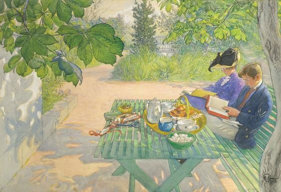 Holiday Reading by Carl Larsson 1916 (Private Collection). Lilla Hyttnäs, Sundborn.