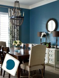 dark blue dining with chair rail - Google Search