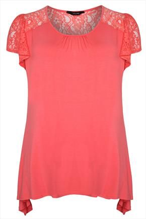 Coral+Jersey+%26+Lace+Longline+Top+With+Godet+Side+Hem+50486