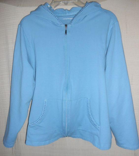 Woman's Jacket Venezia Sport Hoodie Sz 18/20 (1X) Full Zip Blue Cotton Kangaroo #VeneziaSport #Hoodie